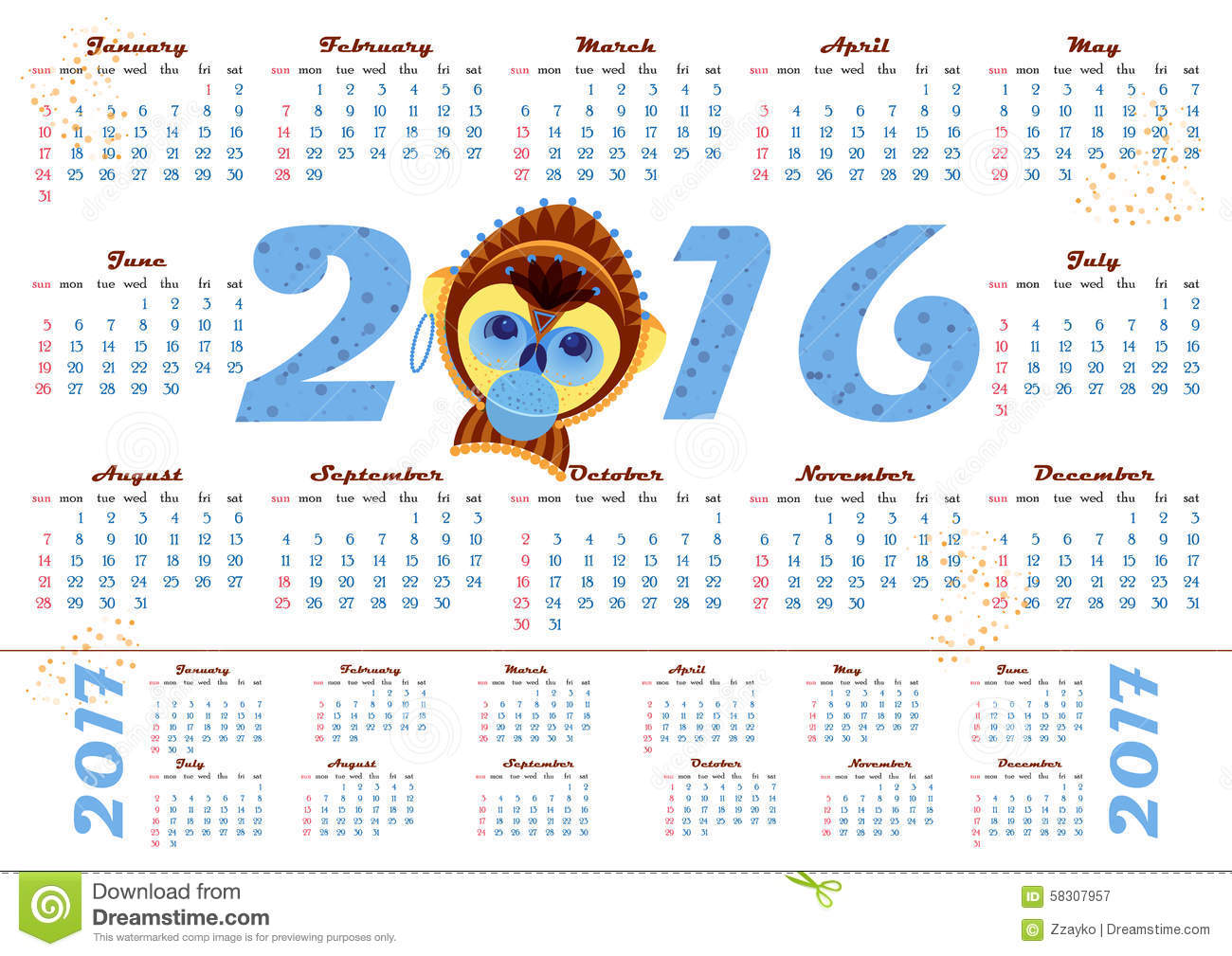 Calendar April Vector : Calendar year with monkey april vector illustration