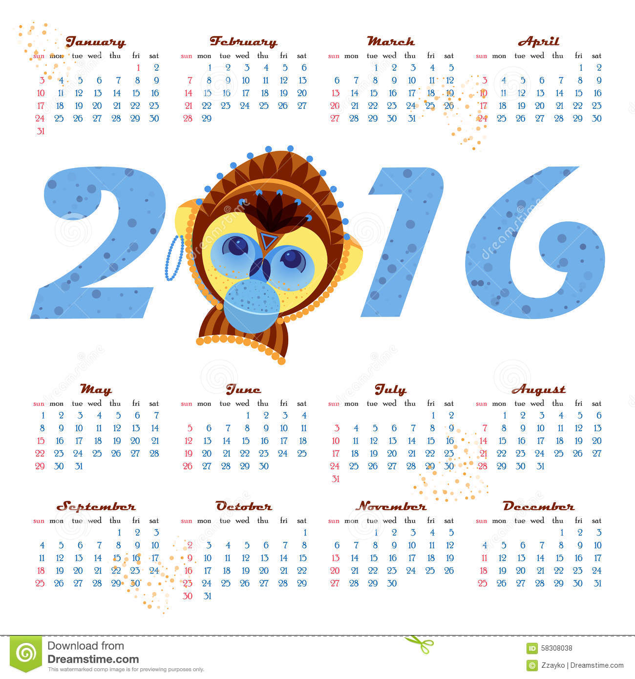 Calendar Illustrations : Calendar with picture monkey symbol of year stock
