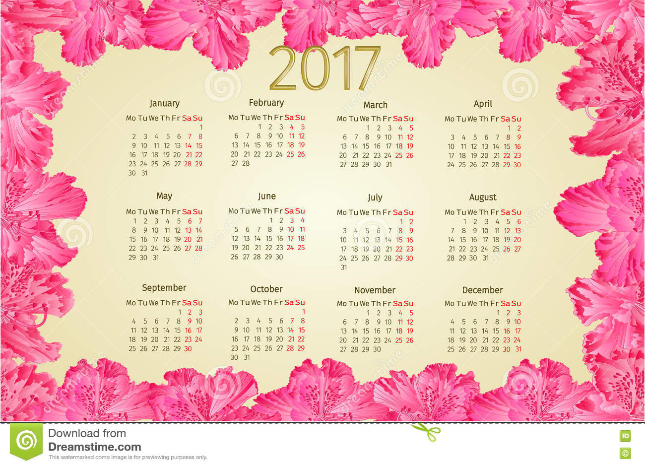 Calendar 2017 With Pink Rhododendron Flowers Vintage ...
