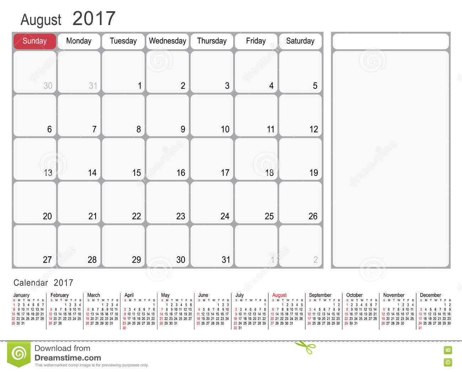 Calendar Planner August 2017 Stock Vector - Image: 82242039