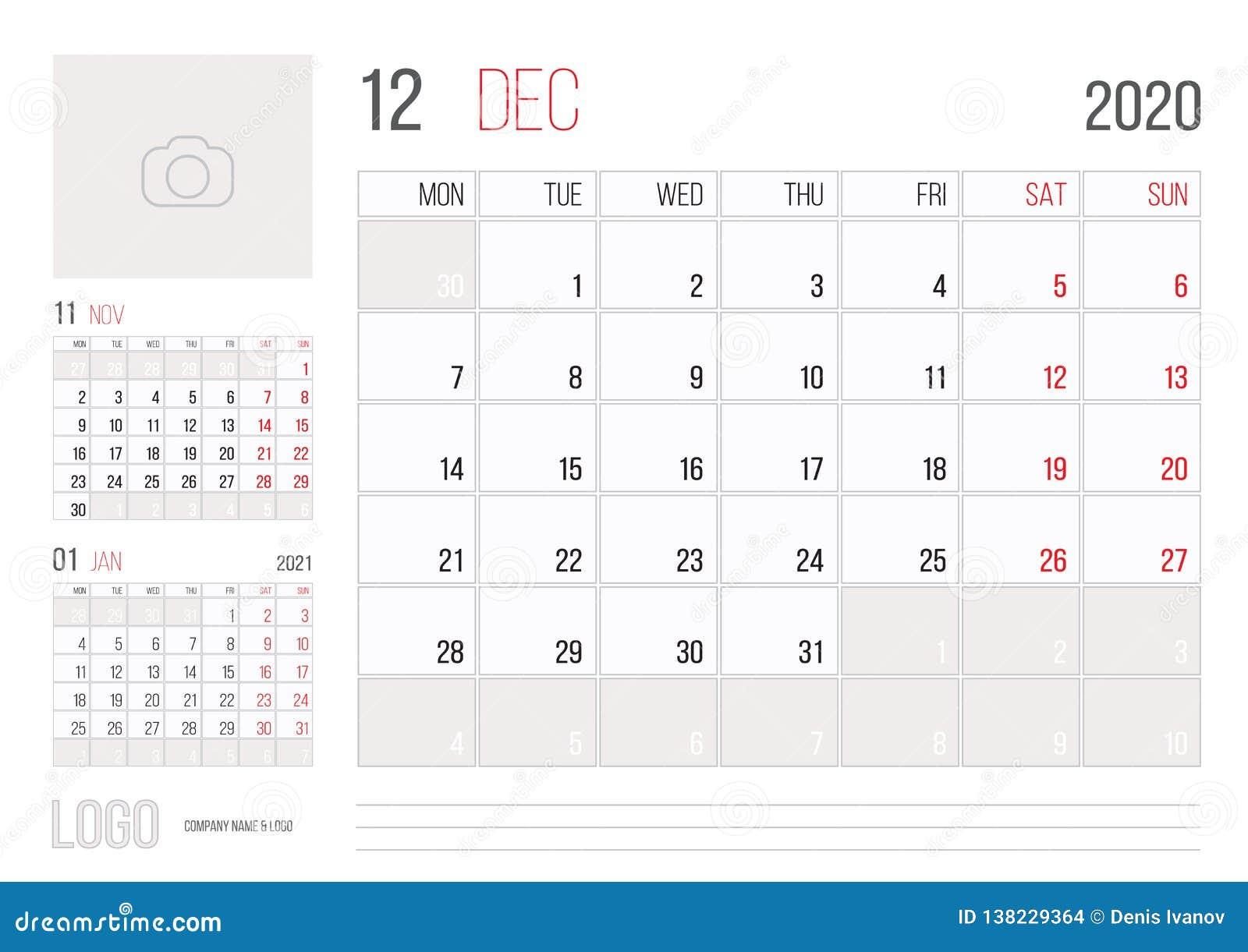 December Calendar 2020.Calendar 2020 Planner Corporate Template Design December Month Stock