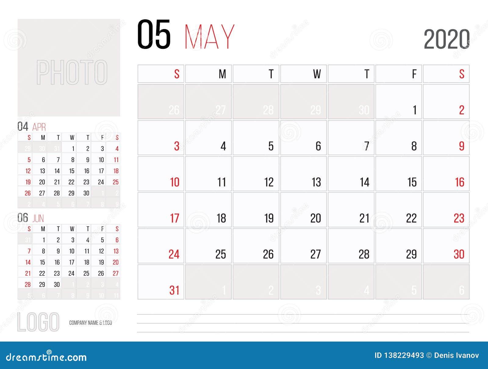Calendar 2020 Planner Corporate Template Design May  Week