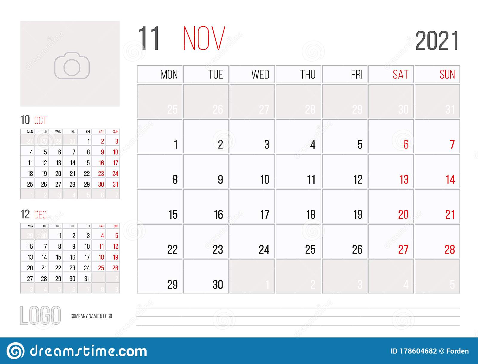 Calendar 2021 Planner Corporate Template Design November ...