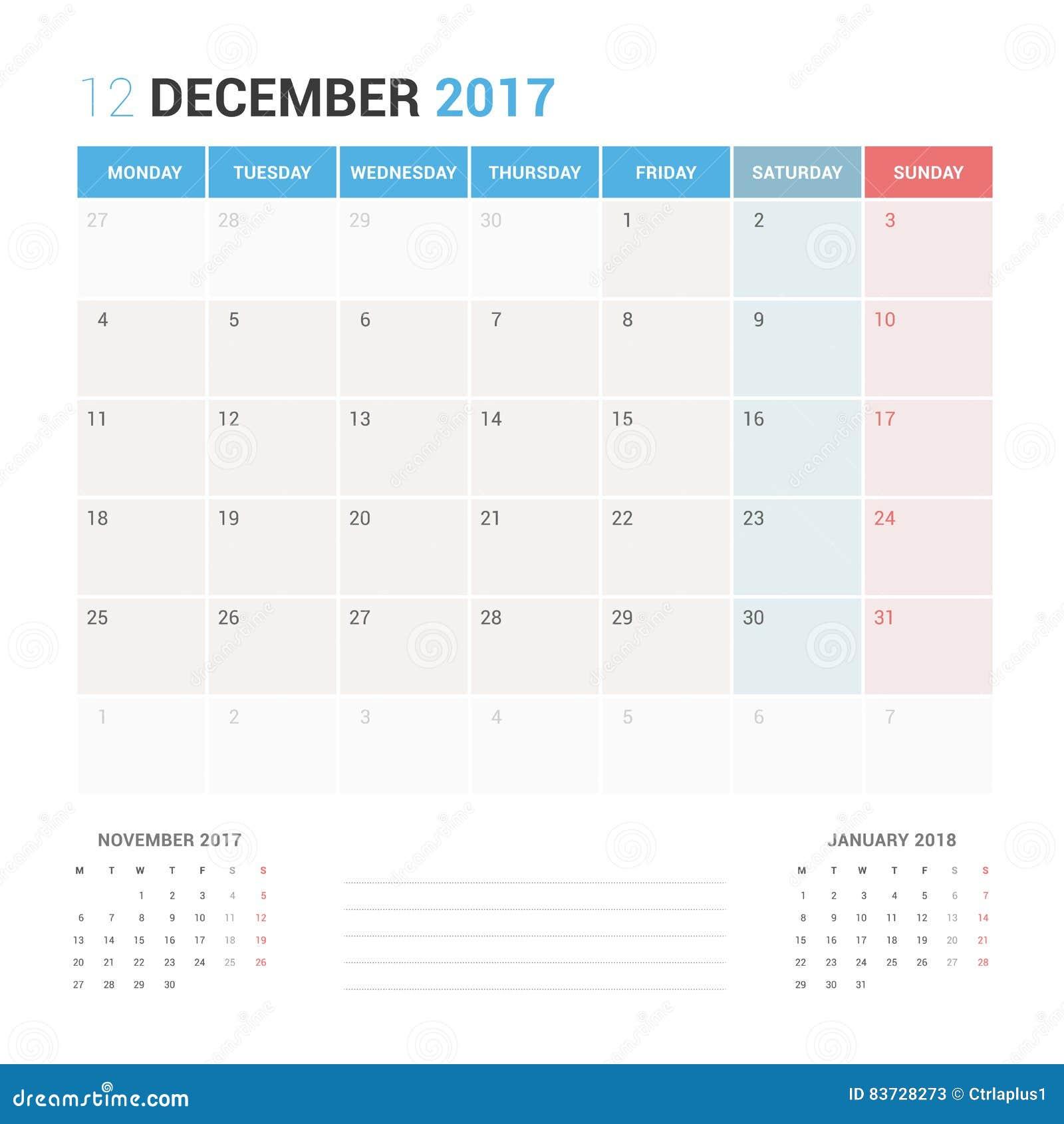 Calendar Planner for December 2017 Vector Design Template Stationary.