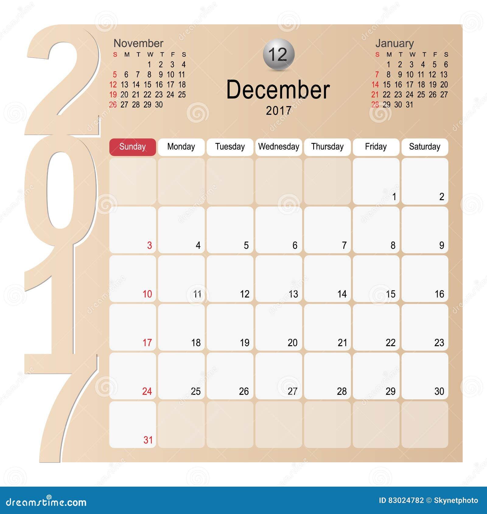 Calendar Planner Vector Free : Calendar planner design december stock vector image