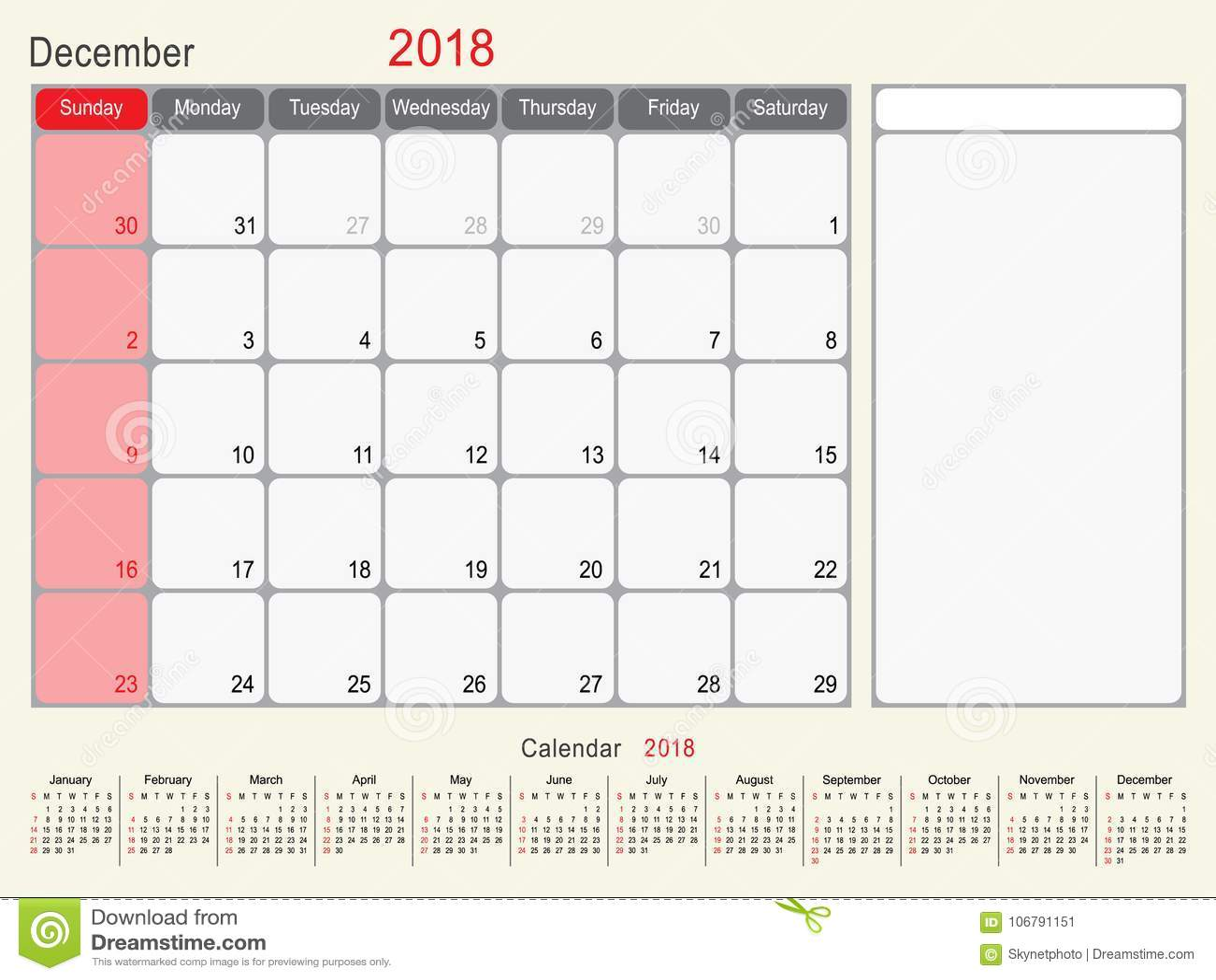 December 2018 Calendar Planner Design