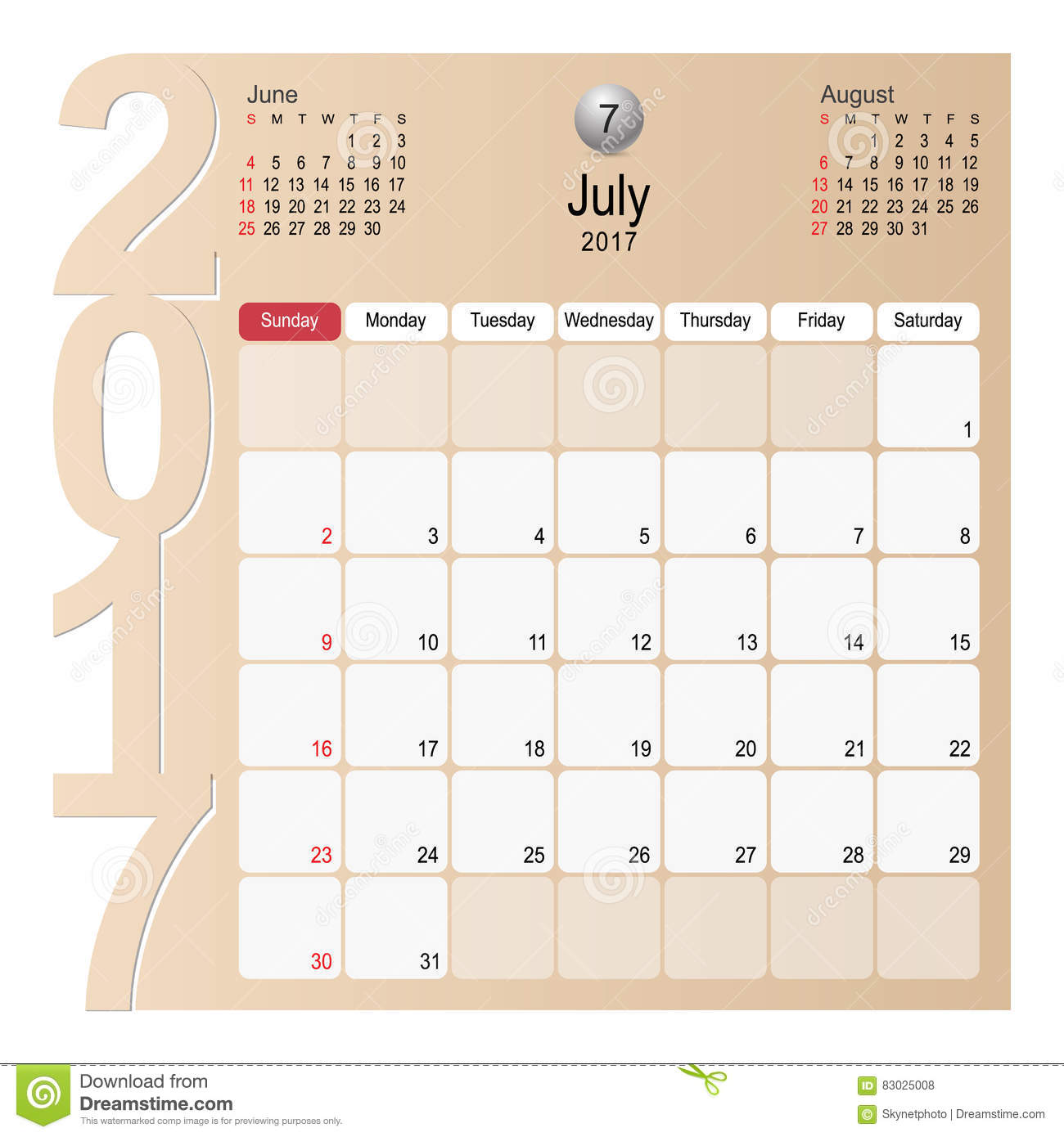 Calendar Planner Design : Calendar planner design july stock vector image