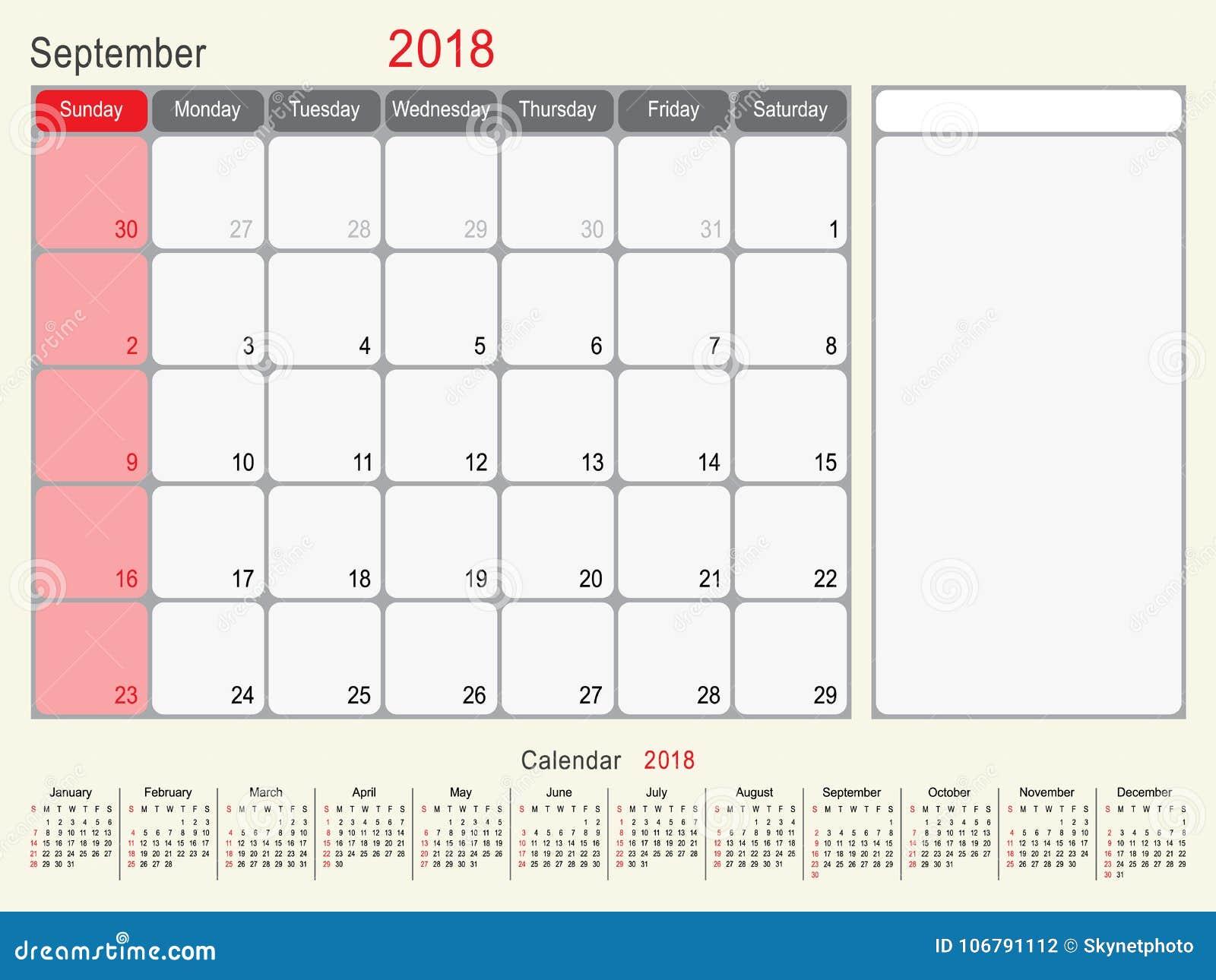 September 2018 Calendar Planner Design Stock Vector