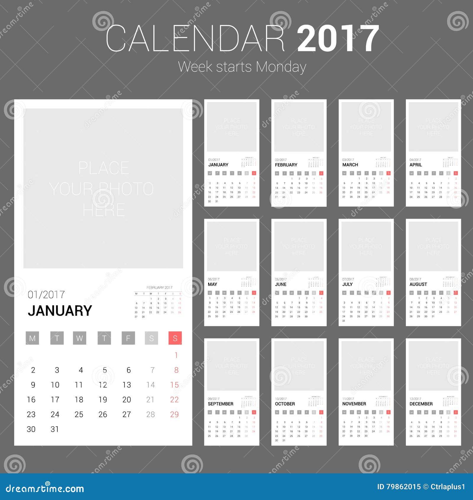 2017 calendar planner design week starts monday stock vector