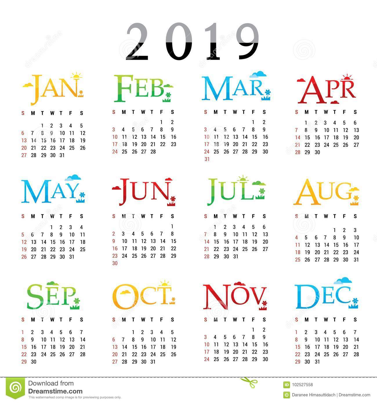calendar planner happy new year 2019 greeting card text typography vector