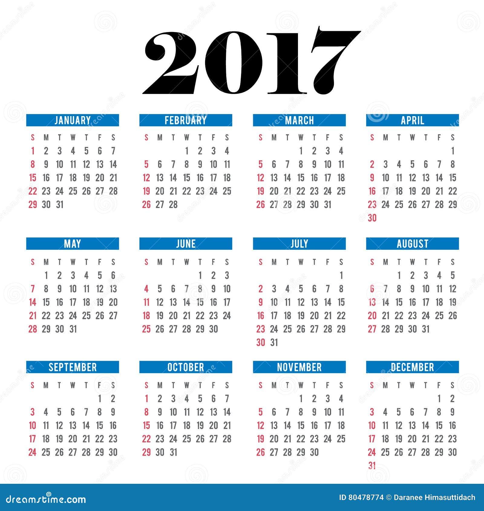 Calendar 2017 planner illustration vector template stock for Time design planner