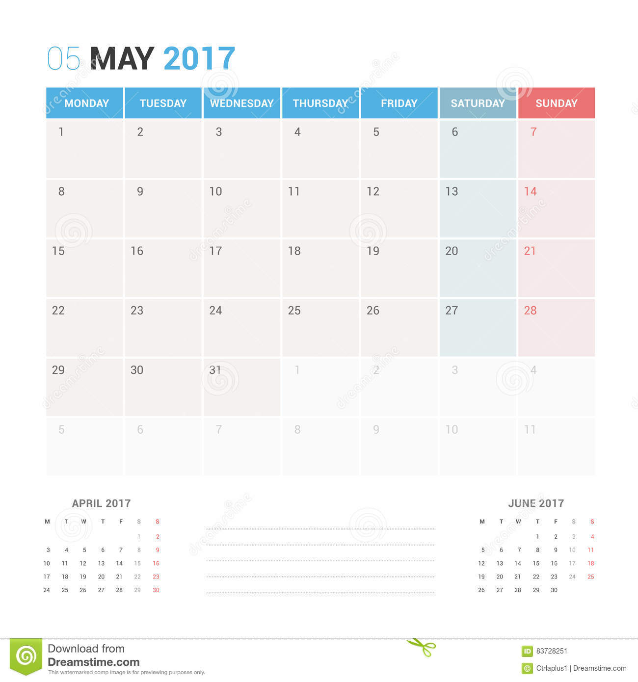 Calendar planner for may 2017 vector design template for Time design planner
