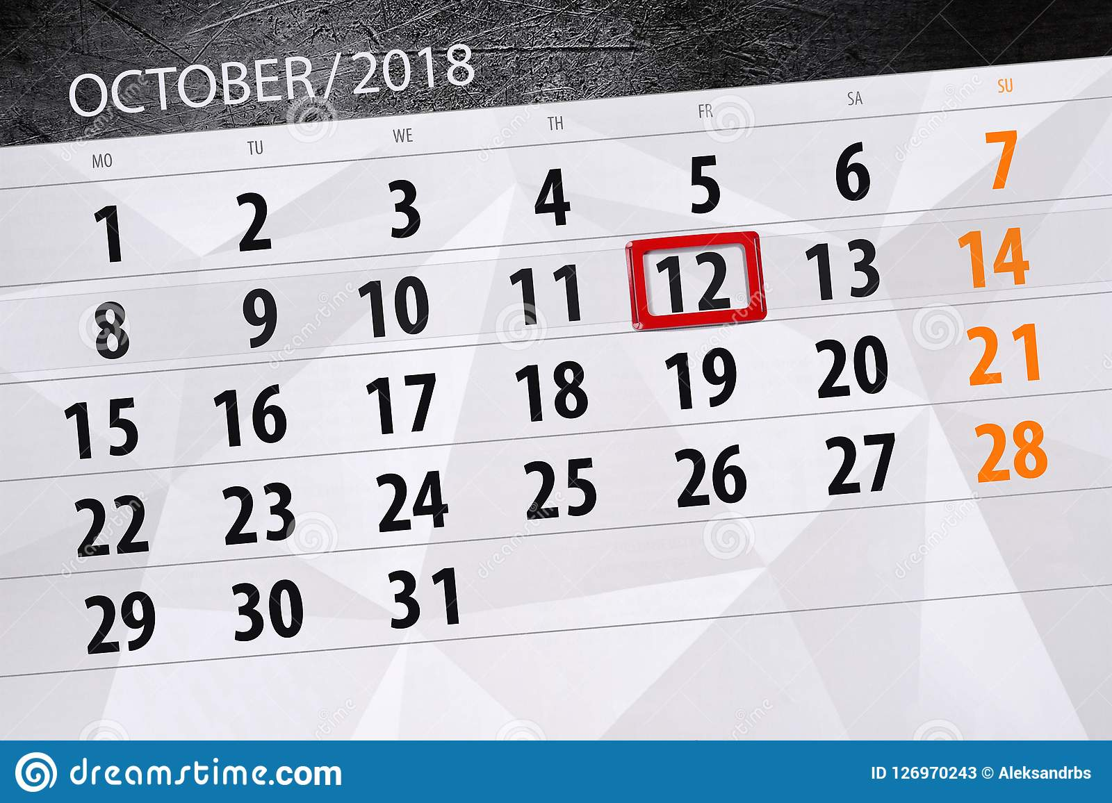 Calendar planner for the month, deadline day of the week 2018 october, 12, Friday