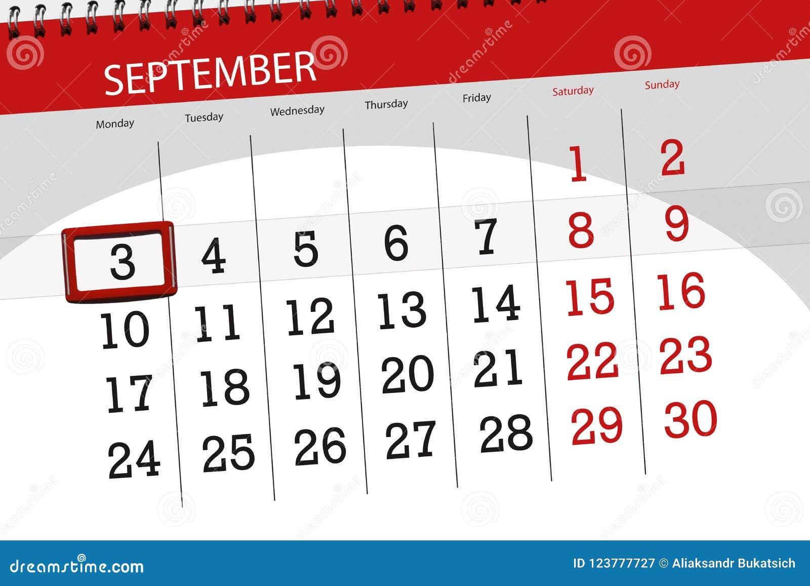 calendar planner for the month deadline day of the week 2018 september 3