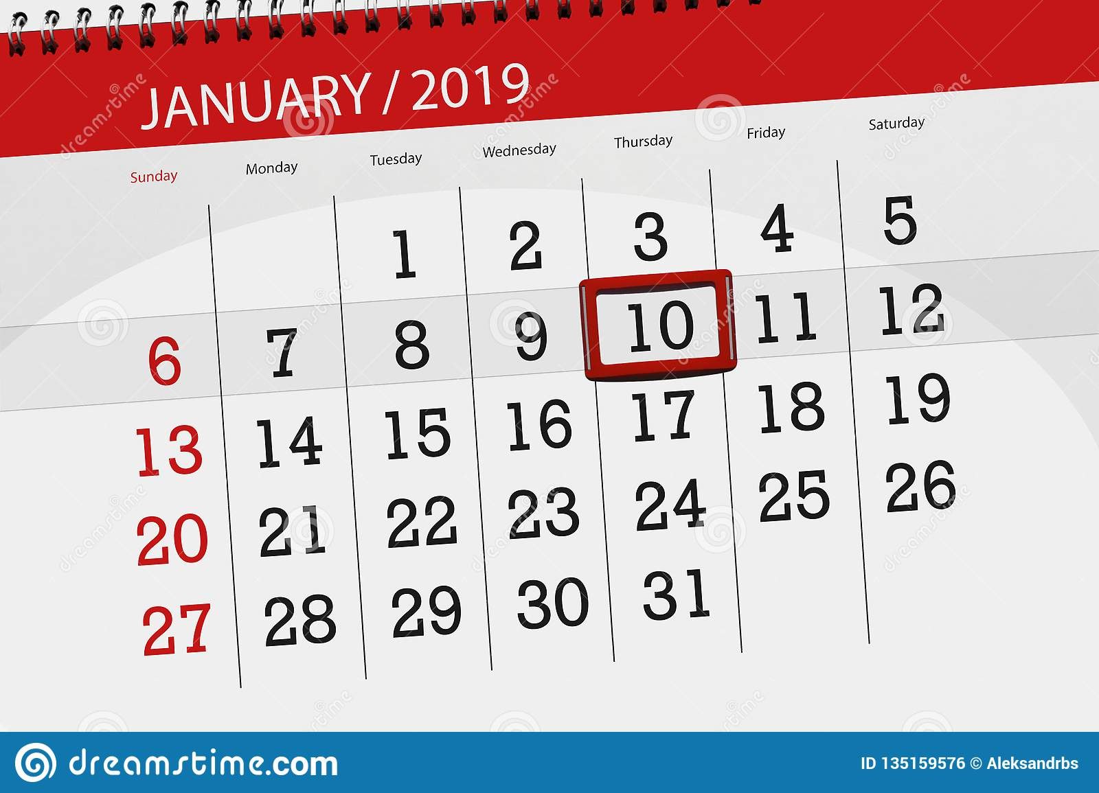 Calendar planner for the month january 2019, deadline day, 10, thursday