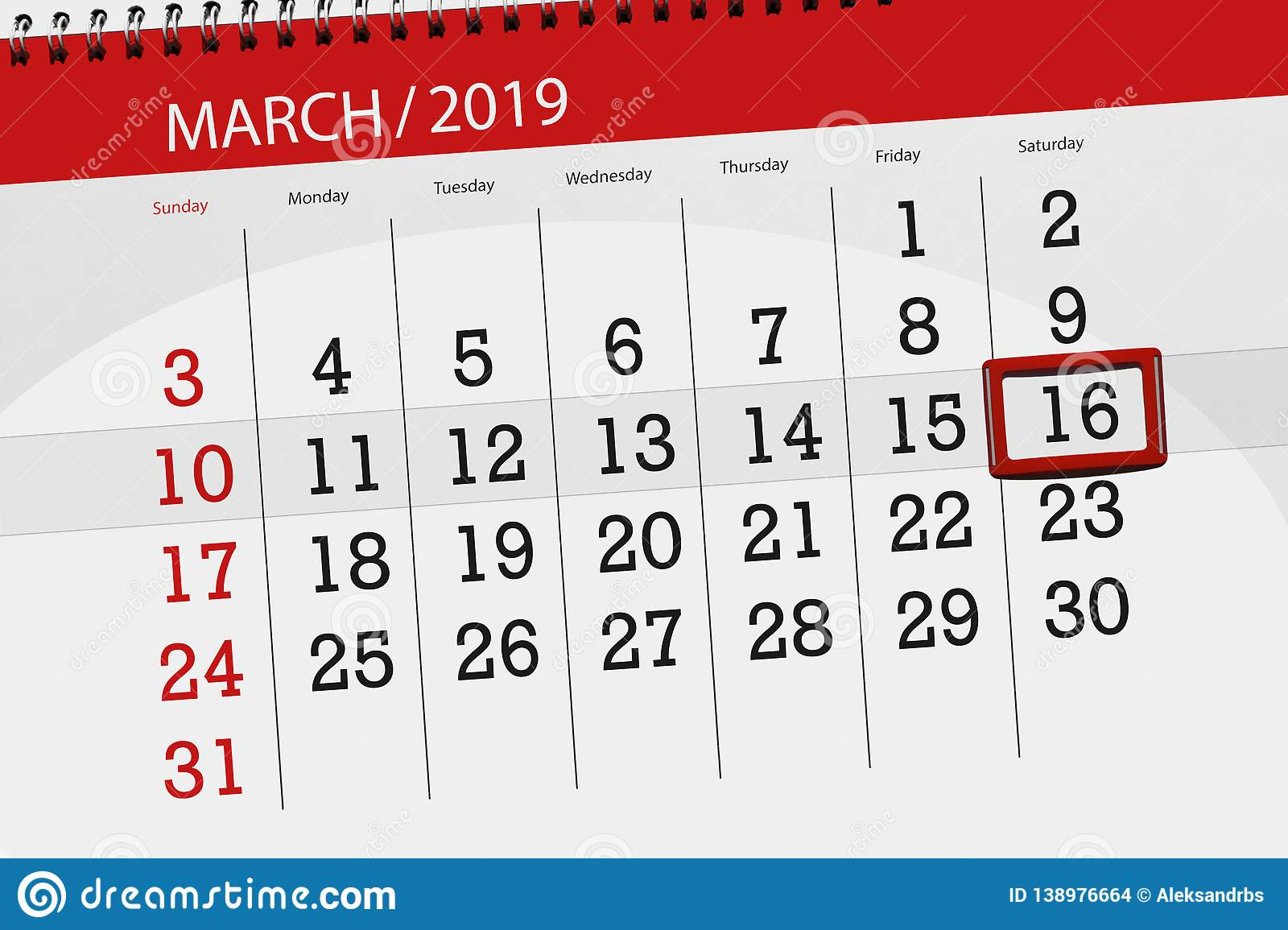 Calendar planner for the month march 2019, deadline day, 16 saturday. Calendar planner for month march 2019, deadline day, 16 saturday stock images