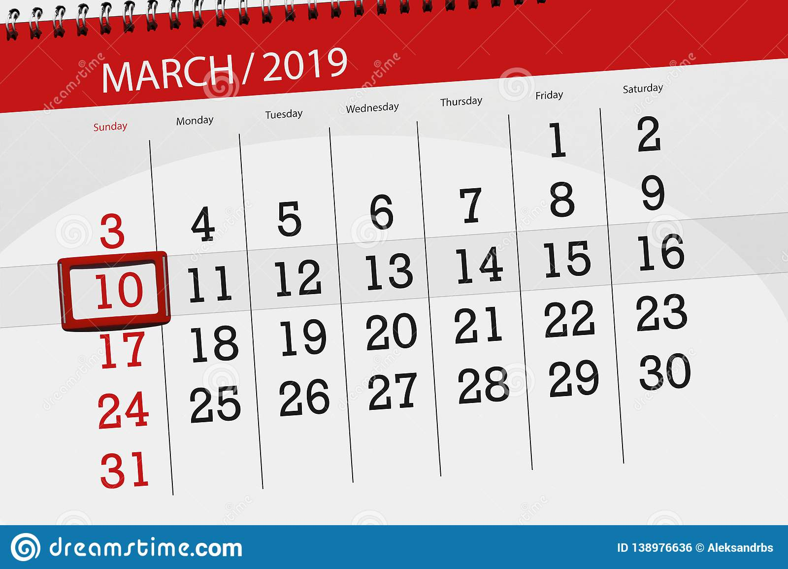 Calendar planner for the month march 2019, deadline day, 10, sunday. Calendar planner for  month march 2019, deadline day, 10 sunday stock illustration