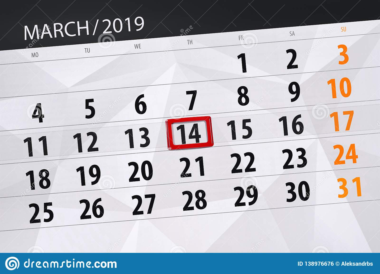 Calendar planner for the month march 2019, deadline day, 14 thursday. Calendar planner for  month march 2019, deadline day, 14 thursday vector illustration