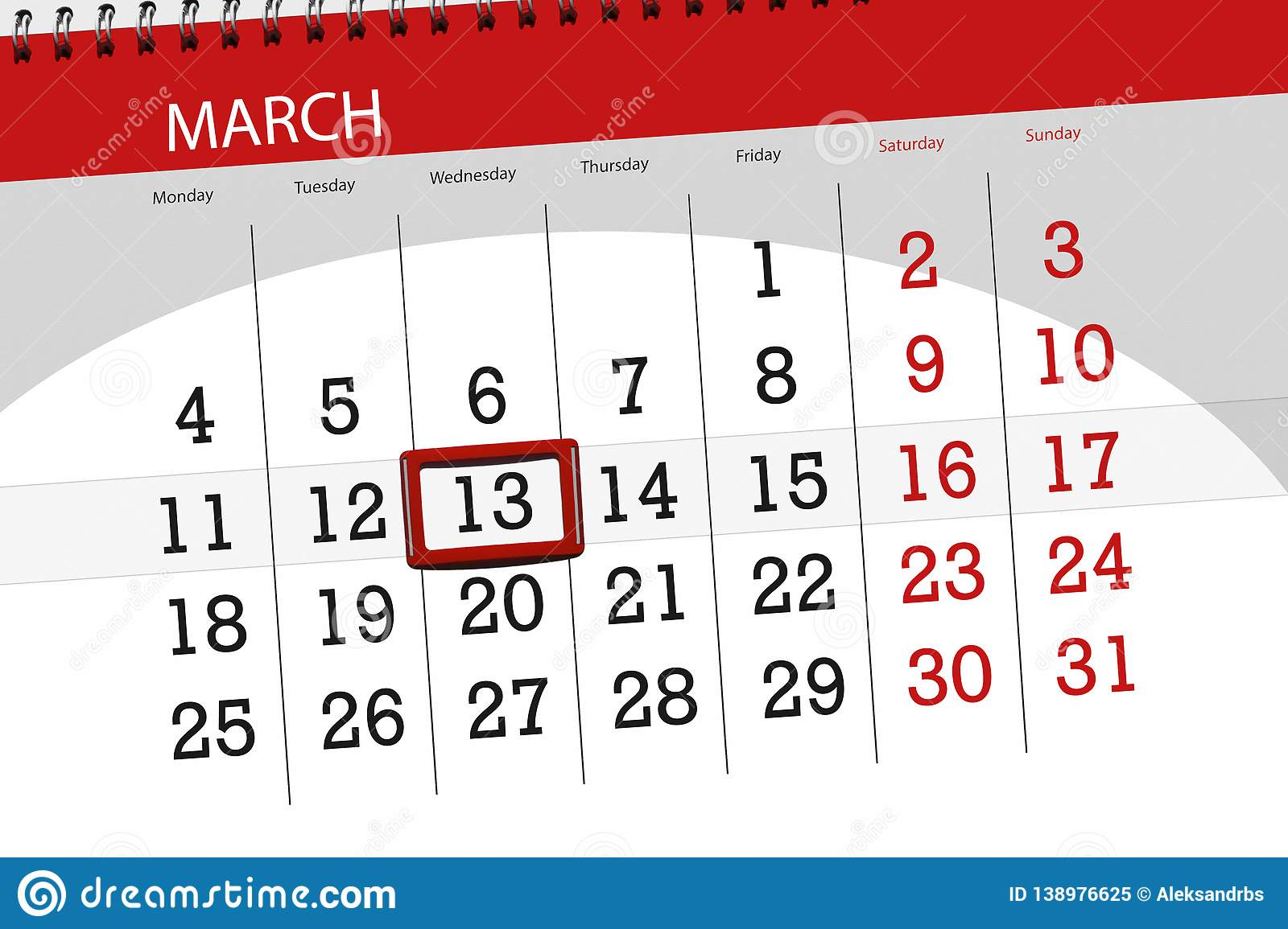 Calendar planner for the month march 2019, deadline day, 13 wednesday. Calendar planner for month march 2019, deadline day, 13 wednesday royalty free stock photo