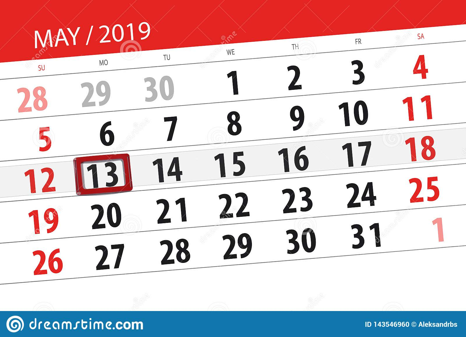 Calendar Planner For The Month May 2019, Deadline Day, 13