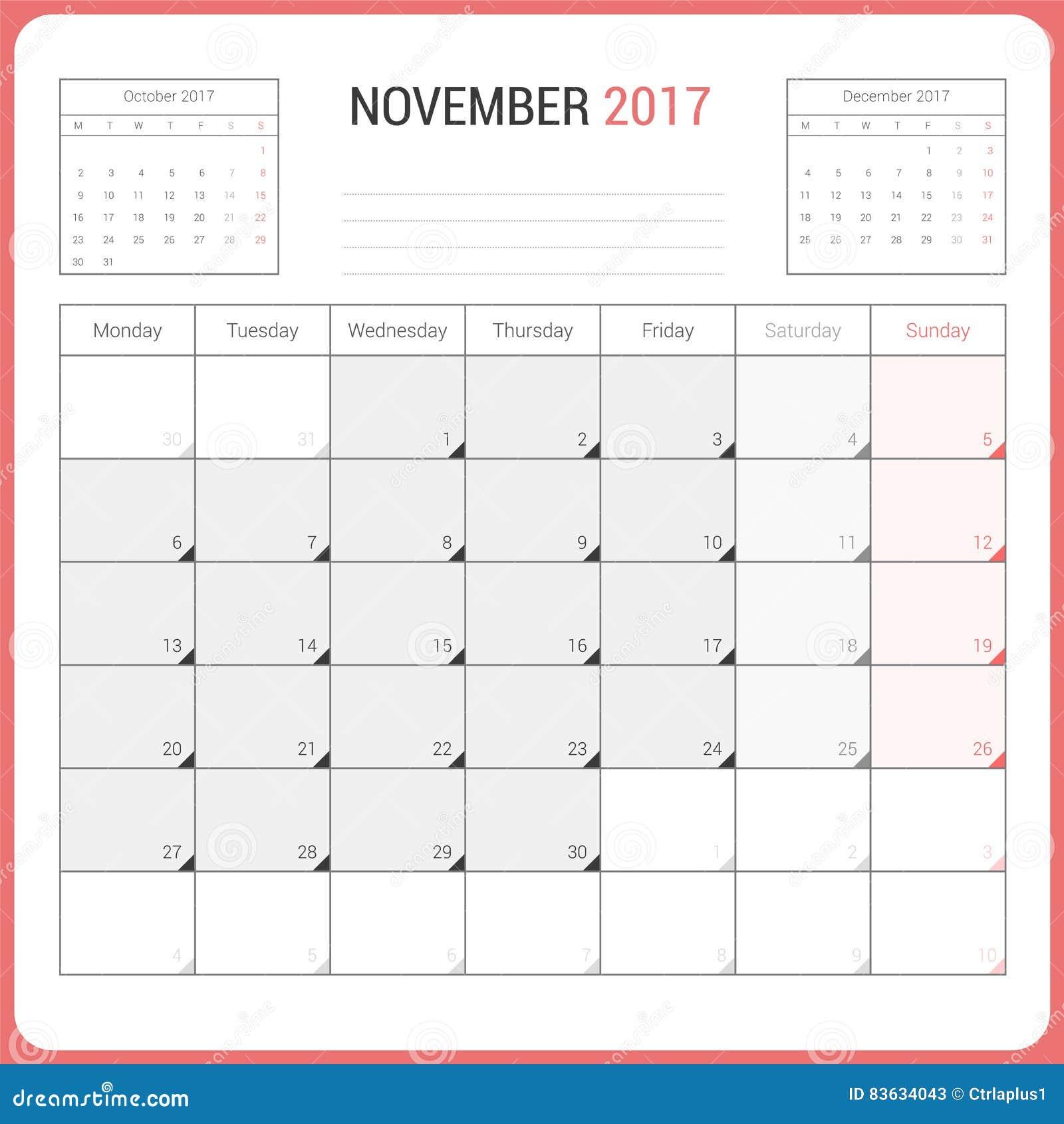 Calendar Planner For November 2017 Vector Design Template ...