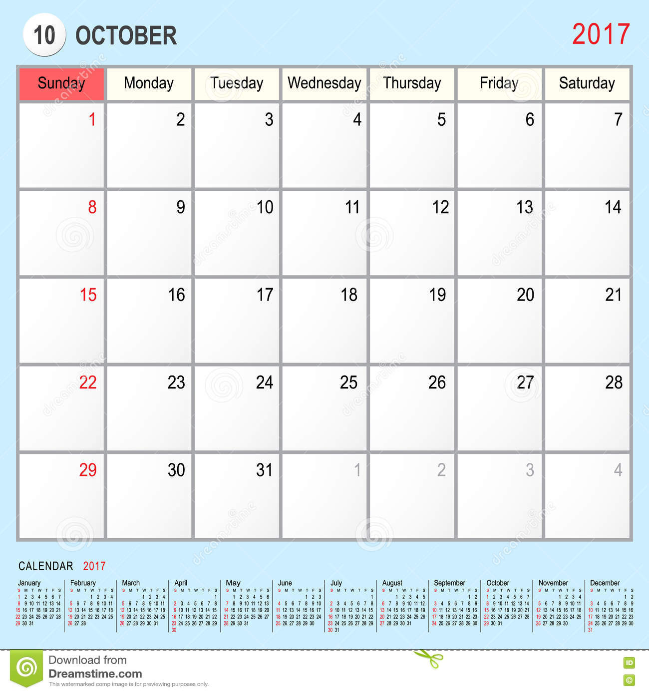 Xs Calendar April : Calendar planner october stock vector image