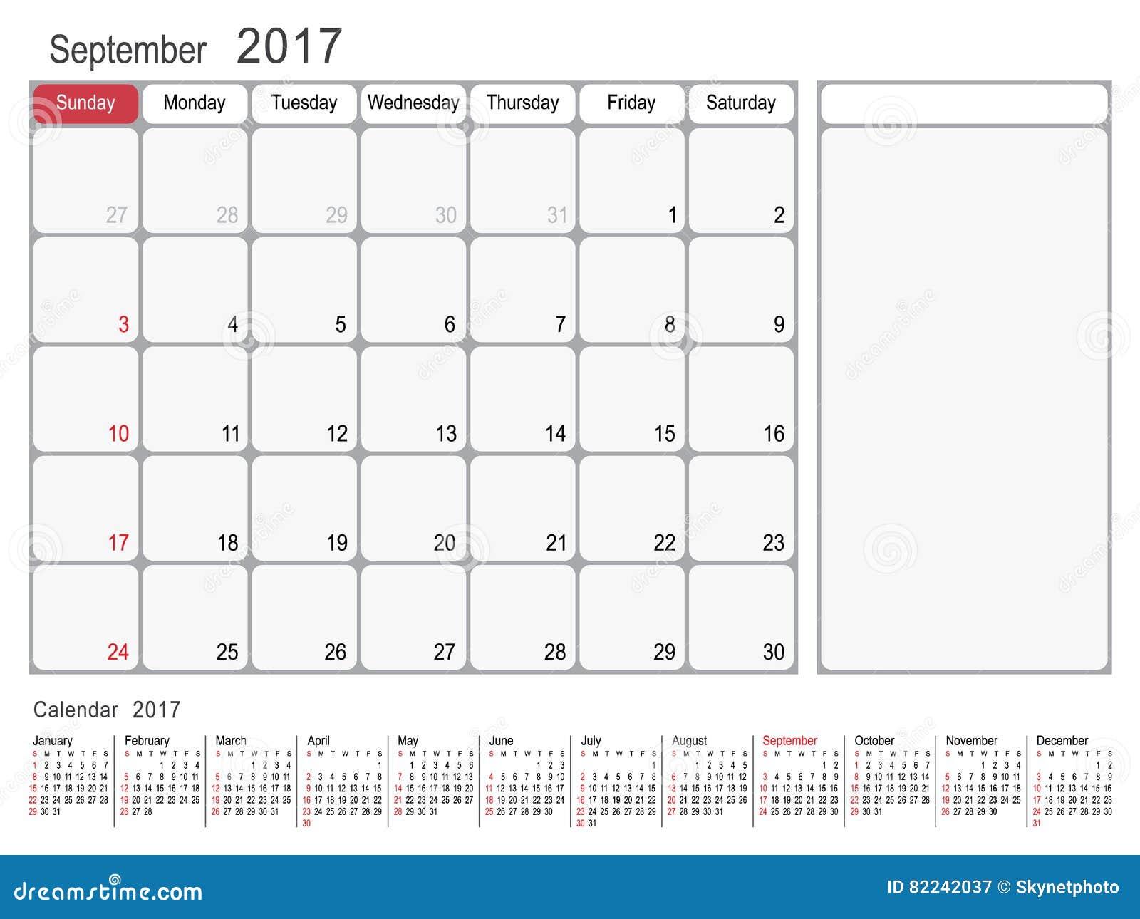 Calendar Planner September 2017 Stock Vector