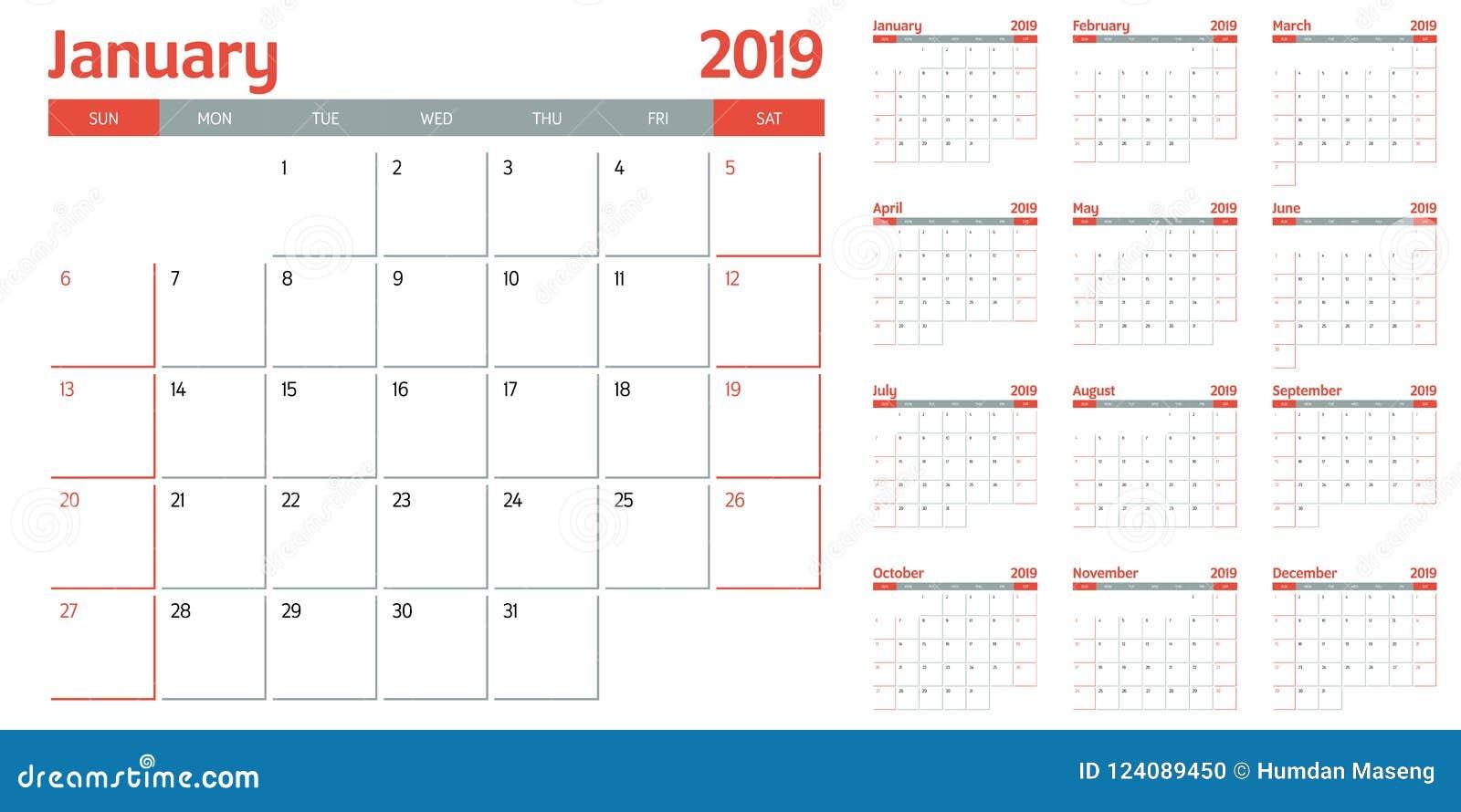 Calendar Planner 2019 Template Vector Illustration Stock Vector