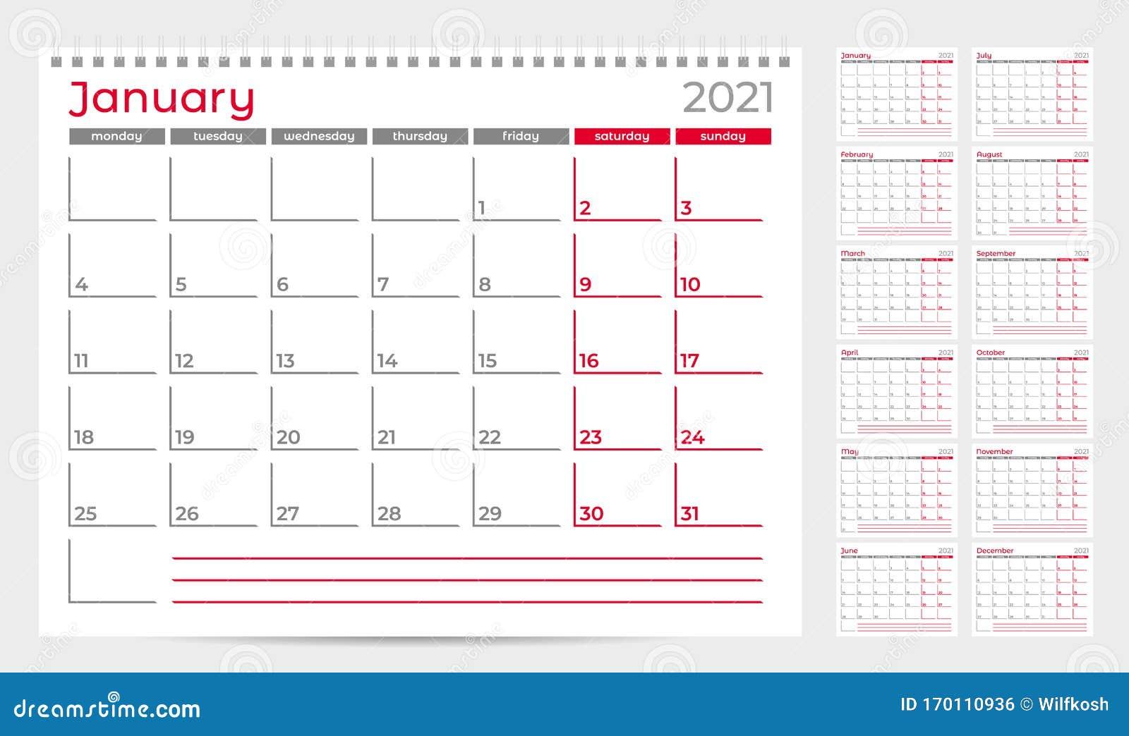 Calendar Planner Template 2021. Week Start From Monday ...