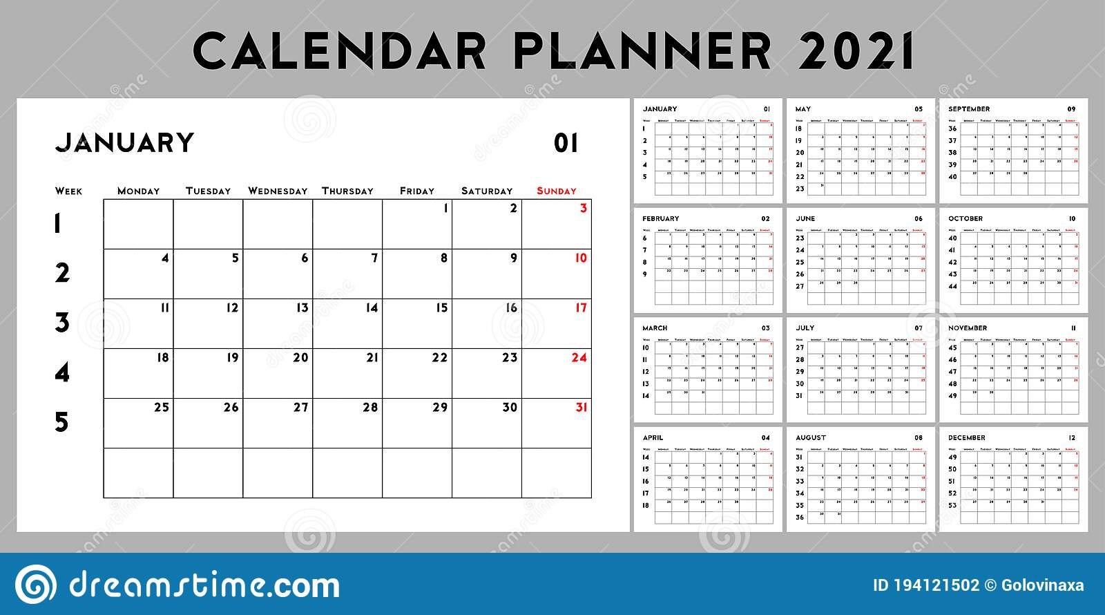 20 Calendar Planner with Week Numbers, Basic Design Template ...