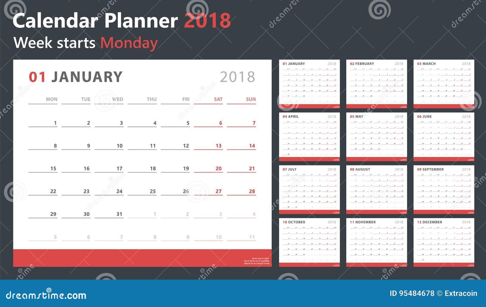 calendar planner 2018 week starts monday vector design template