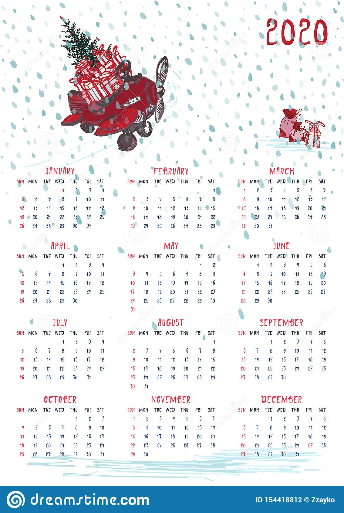 Christmas Calendar 2020 Template 2020 Calendar Planner Whith Red Christmas Truck, New Year Tree And