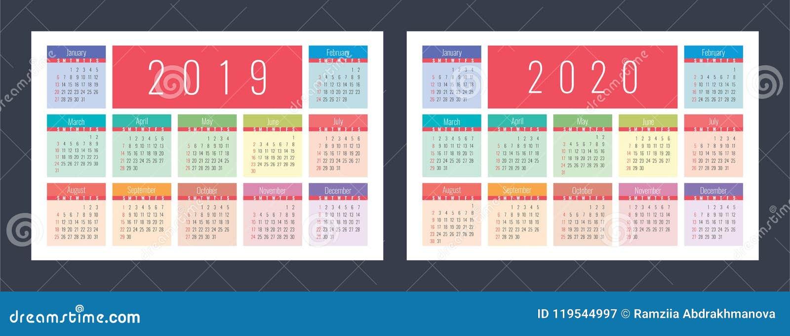 Cu Calendar 2020 Calendar 2019, 2020. Pocket Colorful Calender Set. Bright And Cu