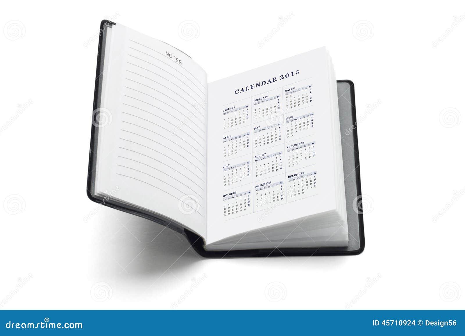 2015 calendar in pocket diary stock photo