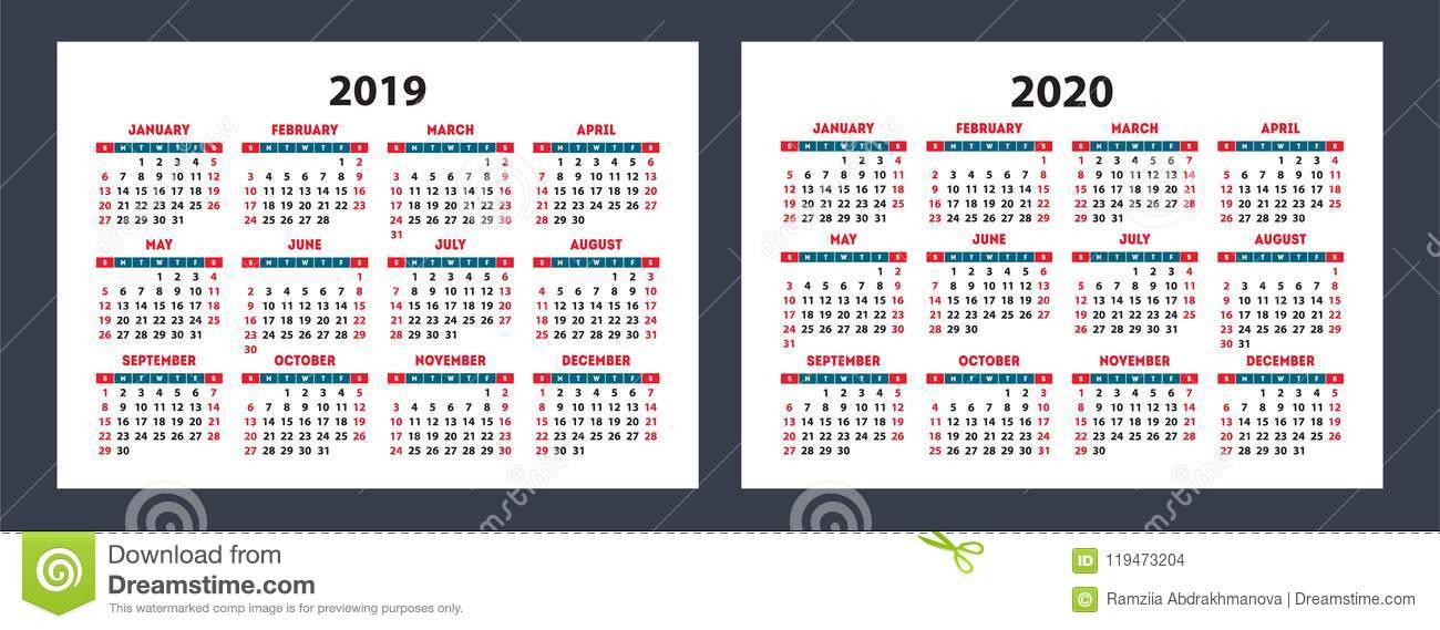 Calendario Ramadan 2020.Calendar 2019 2020 Pocket Vector Basic Grid Simple Design Stock