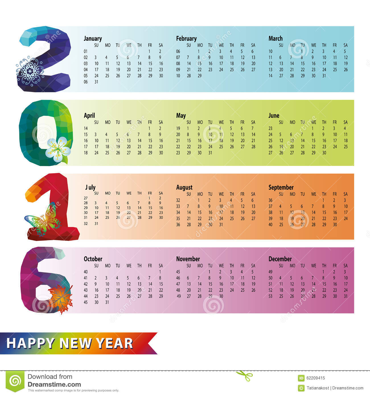 Calendar 2016.Polygon Rainbow Numbers,strips Stock Vector - Image ...