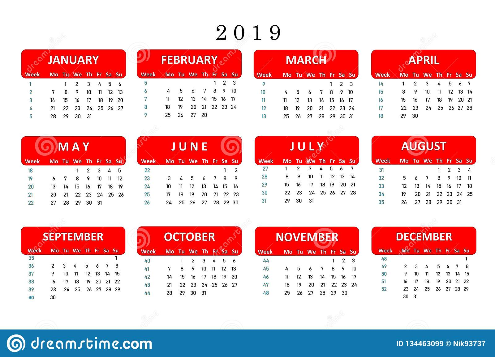 Popular Calendars 2019 Calendar For 2019, A Popular Tool For Important Notes And Work In