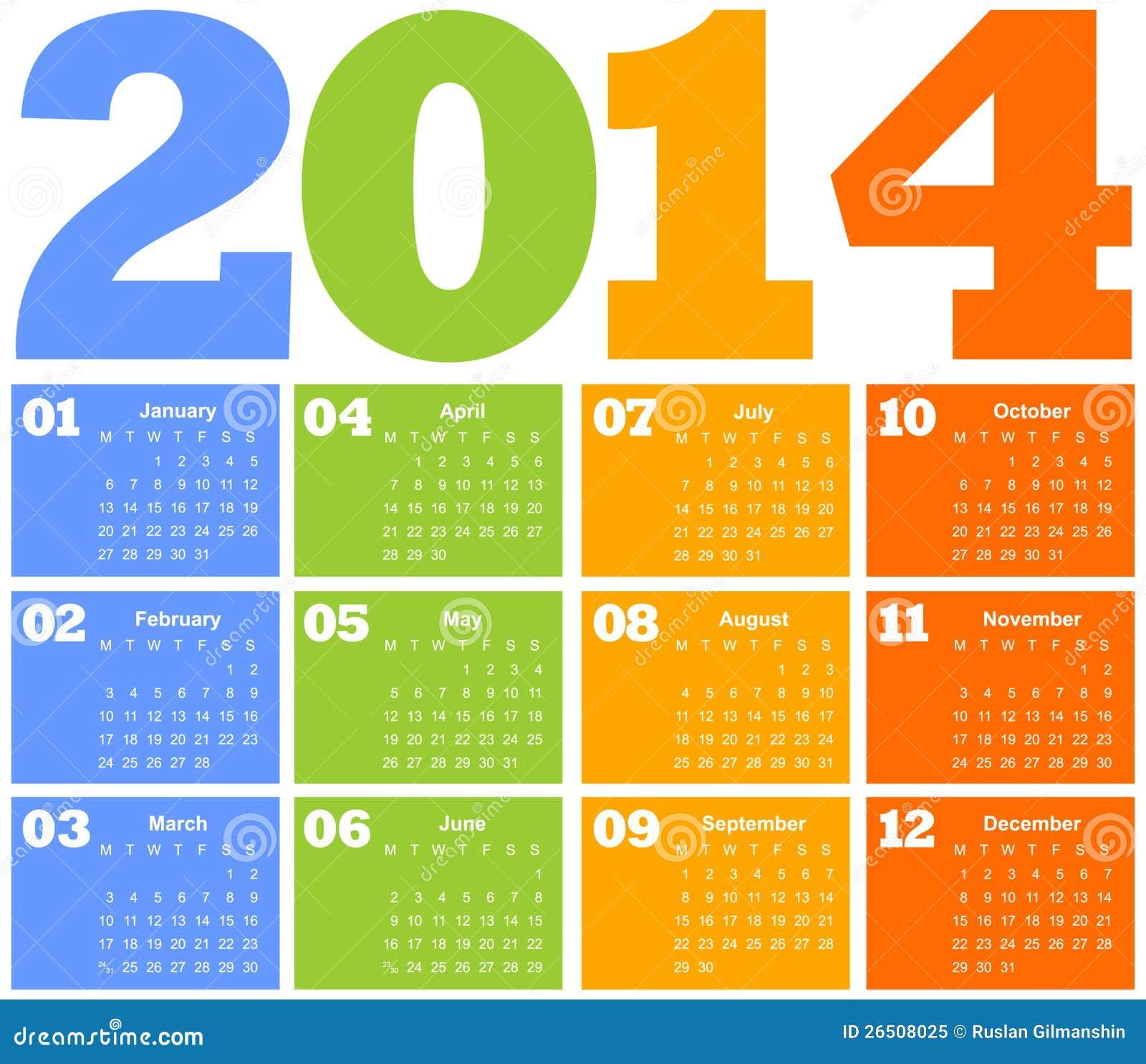 Calendar por o ano 2014