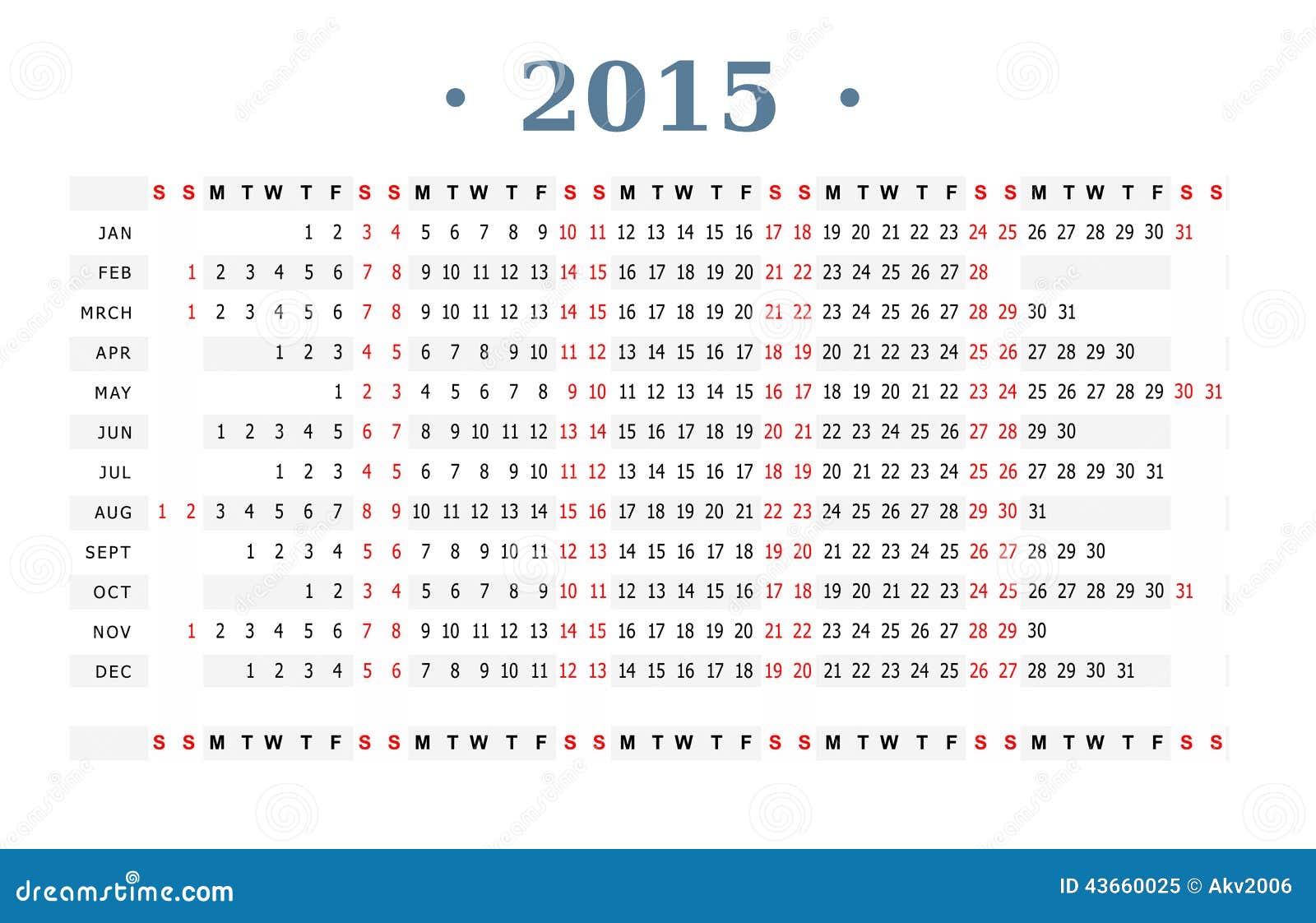 Calendar 2015 Print Stock Vector - Image: 43660025