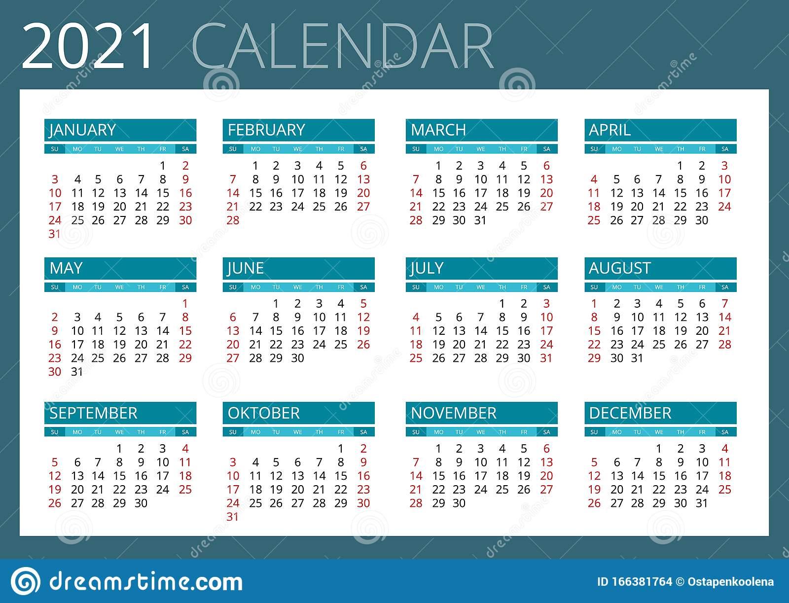 Calendrier Trial 4×4 2021 2021 Calendar, Print Template With Place For Photo, Your Logo And