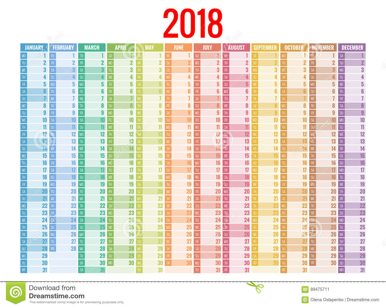 2018 calendar print template week starts sunday for Calendrier photo mural gratuit
