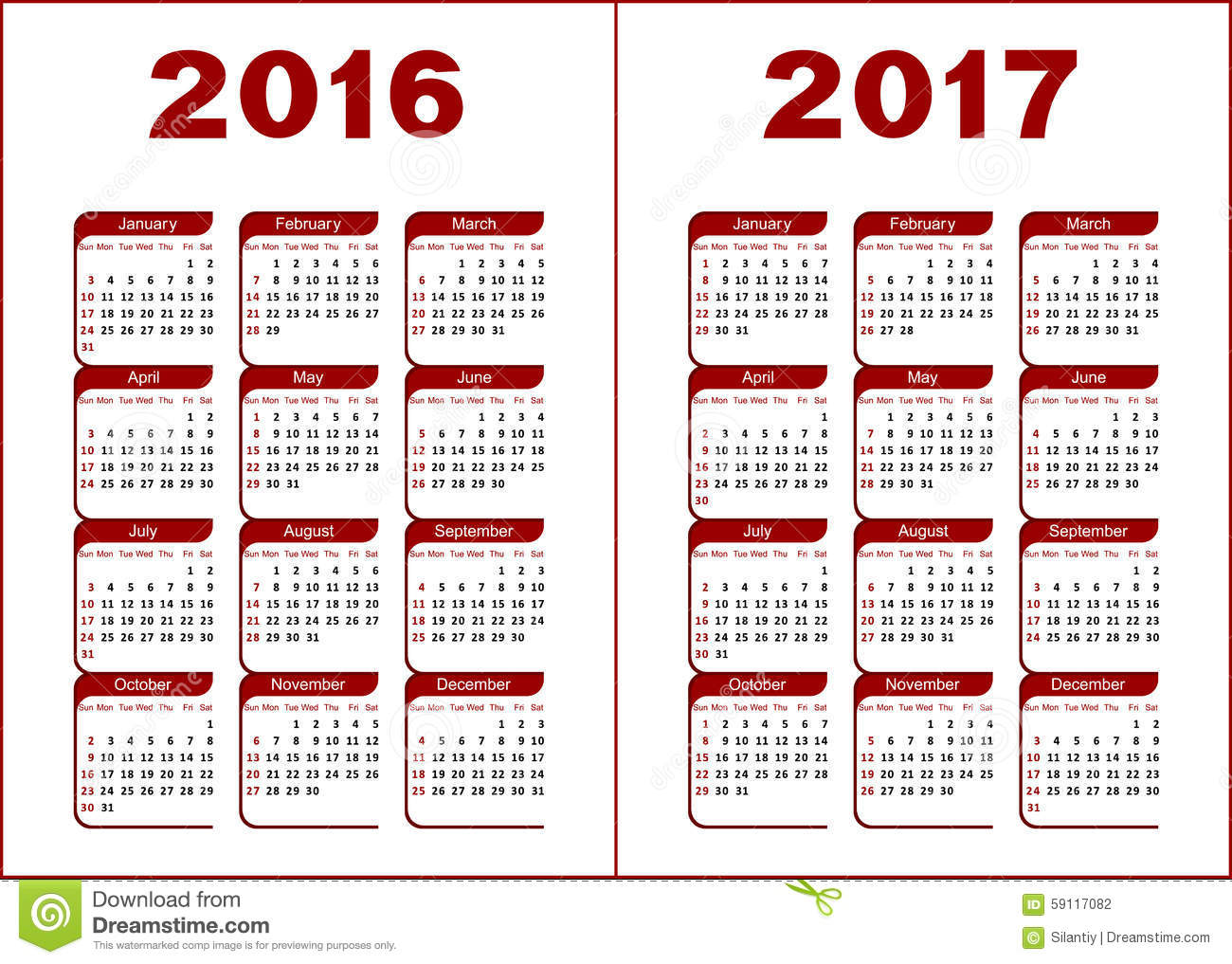 Calendar for 2016, 2017. Red and black letters and figures on a white ...