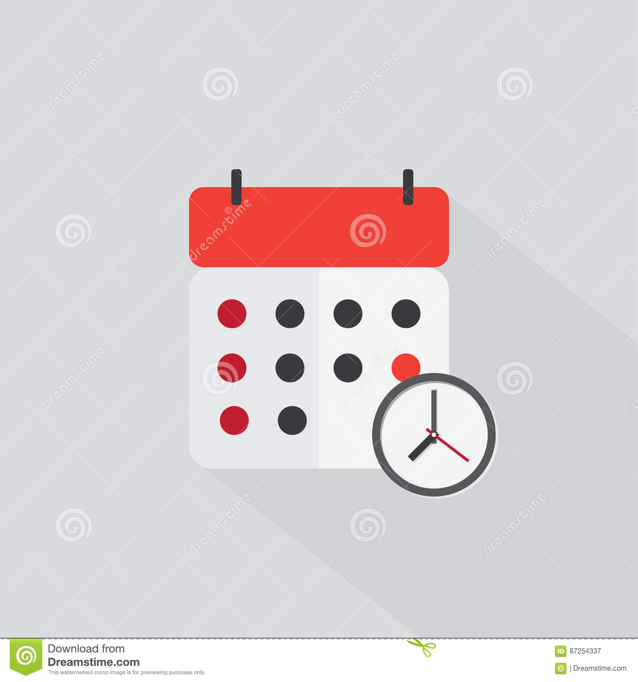 Calendar Reminder Time Icon Color With The Shadow Stock Vector