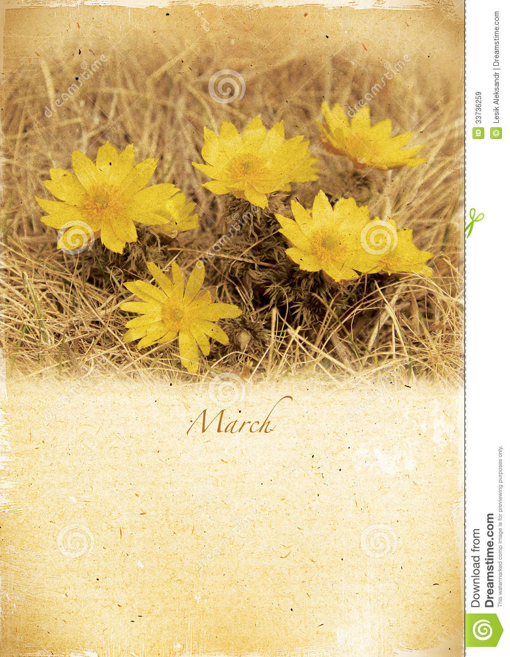 Xs Calendar April : Calendar retro march vintage spring landscape stock