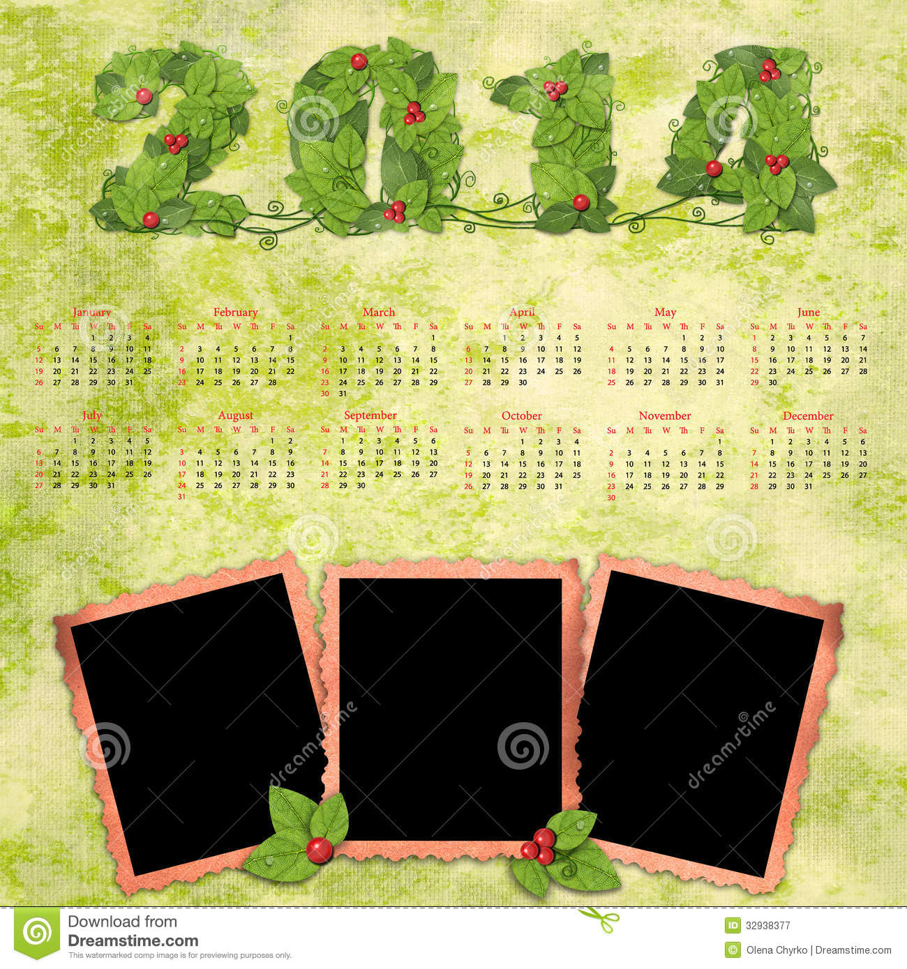 calendar 2014 with a retro photo frames royalty free stock photography