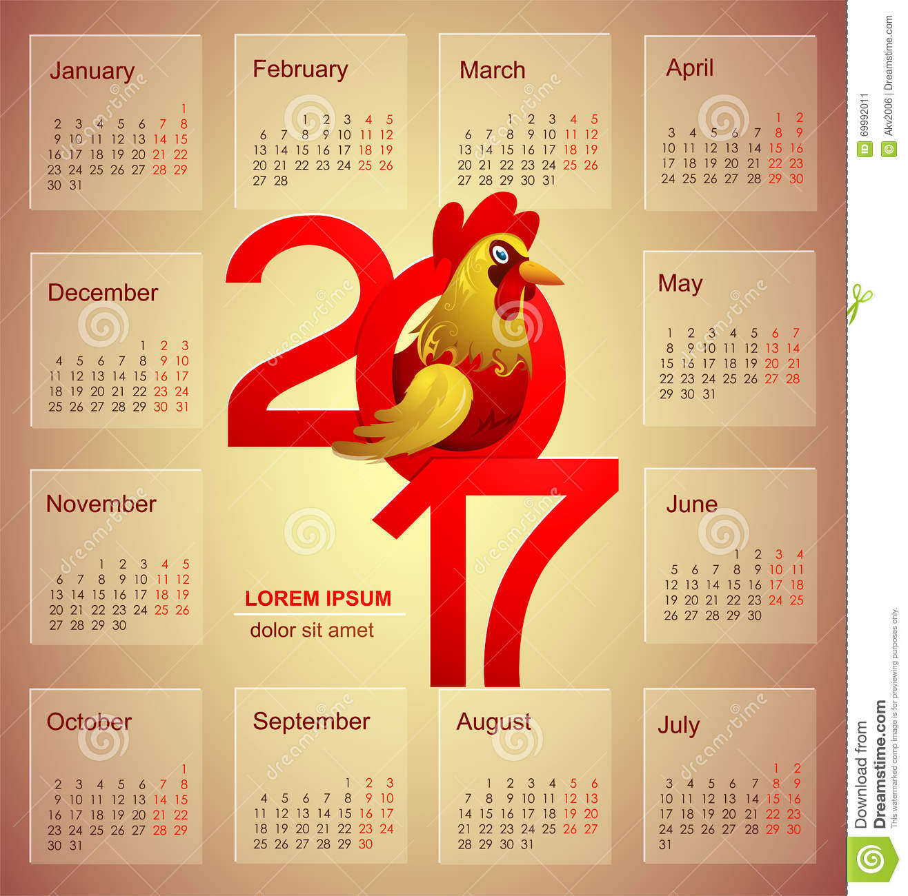 calendar for 2017 with rooster stock vector