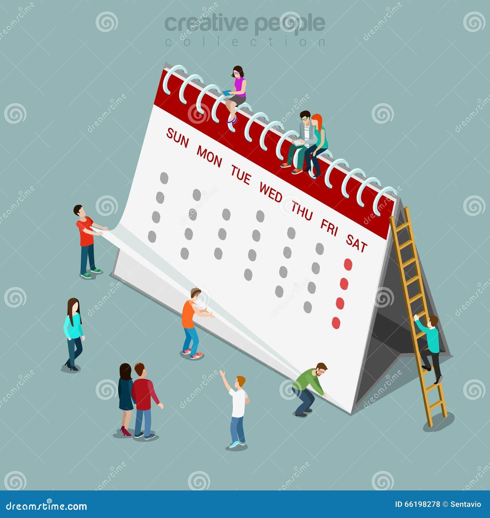 calendar schedule flat isometric vector 3d stock vector