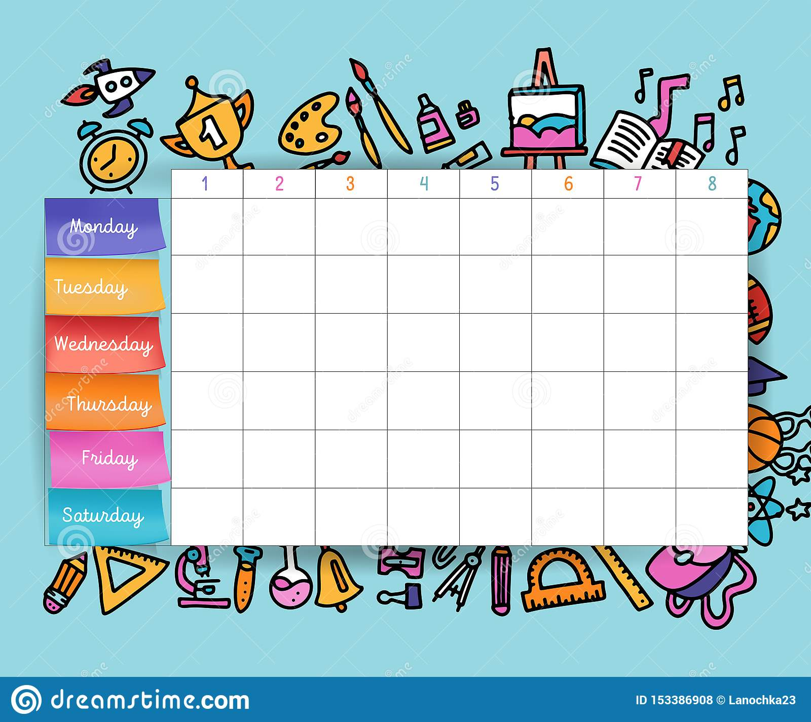 Calendar Schedule With Stickers School Planning Or Scheduling