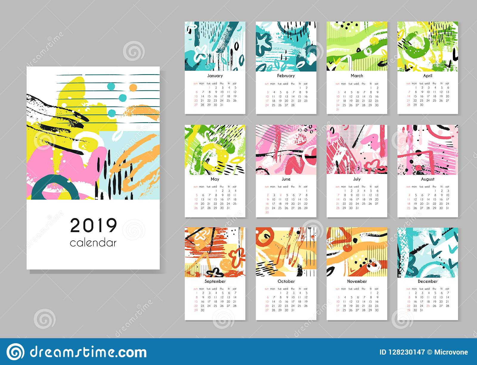 Calendar 2019 Seasons Collage Abstract Painting Modern Creative