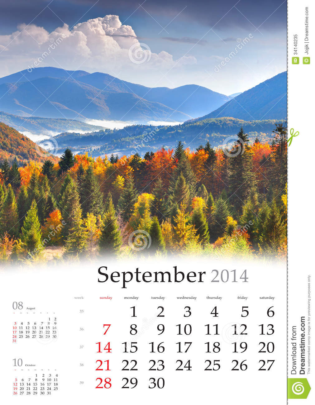 2014 Calendar  September  Stock Image  Image Of Alpine